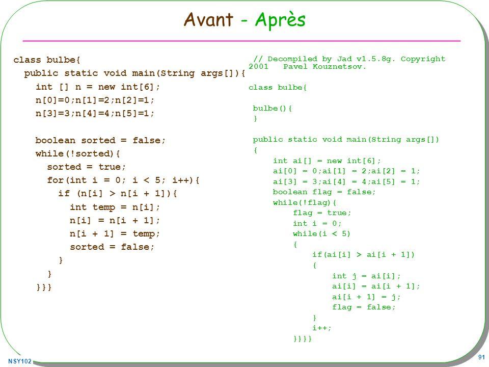 Avant - Après class bulbe{ public static void main(String args[]){